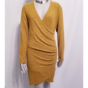 HEART HIPS MARLED MUSTARD SIDE RUCHED DRESS